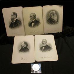 "(5) Steel engravings of famous writers & poets, each measures 5"" x 7""; & 1923 S U.S. Peace Silver Do"