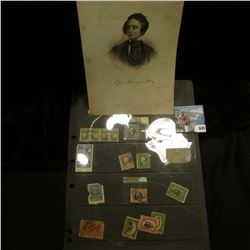 """6.5"""" x 9"""" Steel Engraving of famous Poet, Epes Sargent, 1813-1880; & a group of rare U.S. Stamps, wh"""