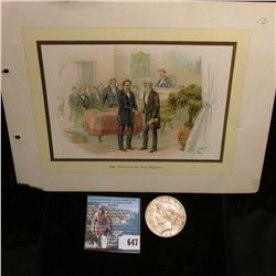 """Steel Plate engraved color added print of """"1844. Morse and the First Telegram""""; & 1922 S U.S. Peace"""