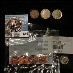 """Four-piece Set of 2009 Lincoln type Cents in a Littleton Holder, BU; Colorized Kennedy Half Dollar """""""