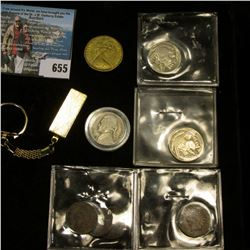 Gold-colored Ingot on a Keyring; 1984 Australia Dollar Coin; (4) Old Indian Head Cents; (2) Buffalo