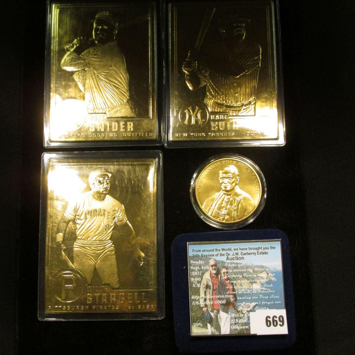 Duke Snider Willie Stargell Babe Ruth 24k Gold Plated Baseball Cards A Cased Pope John
