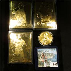 Duke Snider ,  Willie Stargell , &  Babe Ruth  24k Gold-plated Baseball Cards; & a cased Pope John