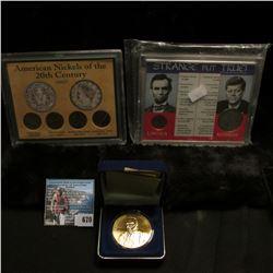 "Cased Set ""Strange But True"" containing a 1973 D Cent, BU & 1968 D Silver Half-Dollar, BU; four-piec"
