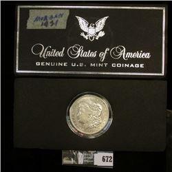 1921 D U.S. Morgan Silver Dollar in a Special Holder, Choice AU.