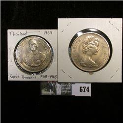 1970 Isle of Man One Crown, BU; & 1964 Thailand Sarit Thanarat 1908-1963.