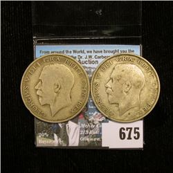 Pair of 1921 Great Britain Silver Half Crowns, VG.