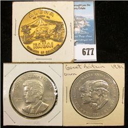 1973 Kauai Chamber of Commerce, 39 mm Medal; 1960-1999 John F. Kennedy Memorial Medal; & 1981 Prince