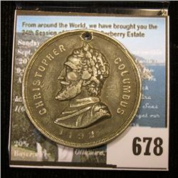 """1492 Christopher Columbus, """"400th Anniversary of the Discovery of America/Oct. 12 1892"""", holed. VF."""