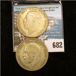 1922 & 1036 Great Britain Silver Half Crowns, VG.