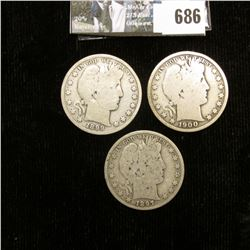 1897 P, 99 P, & 1900 P U.S. Barber Half-Dollars, all Good condition.