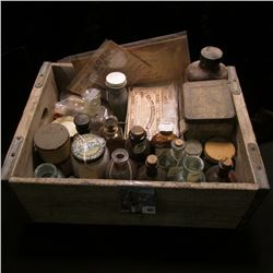 """Wooden Pop Crate full of Old Medicine Bottles and Memorabilias.  Includes some """"Rexall Store Co-Oper"""