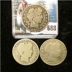 1897 P, 99 O, & 1901 P U.S. Barber Half-Dollars, all Good condition.