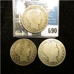 1902 P, 1904 P, & O U.S. Barber Half-Dollars, all About Good to Good condition.