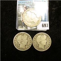 1907 D, 07 O, & 08 P U.S. Barber Half-Dollars, all Good condition.