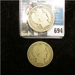 1907 O & 08 D U.S. Barber Half-Dollars, all Good condition.