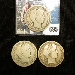 1908 P, 08 S, & 13 S U.S. Barber Half-Dollars, all Good condition.