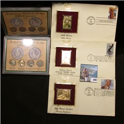 (3) Different First Day of Issue Covers from 1996-2003 with 22K Gold Stamps; & (2)  American Nickels