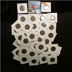 (47) Carded Indian Head Cents dating from 1878 to 1899, Grades up to VF.