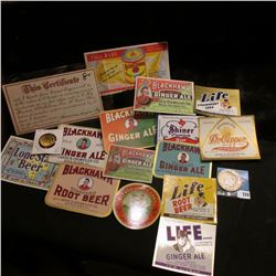 "(13) Different Mint condition Beer & Pop labels; bottle cap ""United States SAVOY Special Brewing Co."