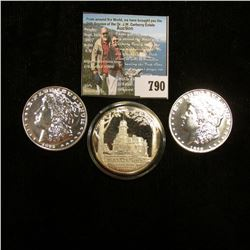 1889 CC & 1895 P Tribute Proof Morgan Dollar copies with original paper work; & a 1972 Silver Proof
