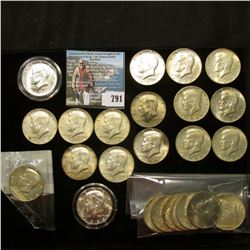 Group of U.S. Half Dollars, most of which are Silver: 1976 S Clad Proof in Littleton Coin cellophane