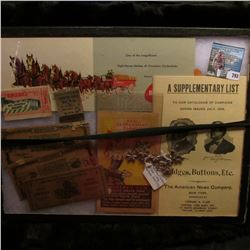 "12"" x 16"" Glass faced case with a Budweiser Advertising Card depicting the Clydsdales;  ""A Supplemen"