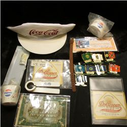 Coca-Cola Cap; Pepsi cup & bowl; several early Dr. Pepper Bottle labels in mint condition; a few U.S