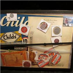 "12"" x 16"" Glass faced case (glass broken) with ""Child's Razor Blades"" Sign; ""The La Rue Service Stat"