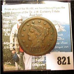 1851 U.S. Large Cent, Choice VF.