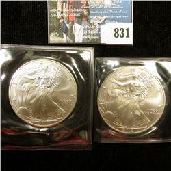 2001 & 2002 U.S. American Silver Dollar One Ounce .999 Fine Silver. Brilliant Uncirculated. One with