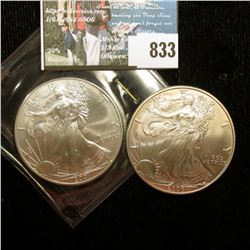 2001 & 2006 U.S. American Silver Dollar One Ounce .999 Fine Silver. Brilliant Uncirculated. One with