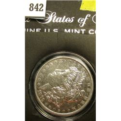 1879 P Morgan Silver Dollar, EF, in a special holder.