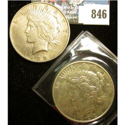 1922 P & D U.S. Peace Silver Dollars, EF-AU, one with C.O.A. from the American Historical Society.