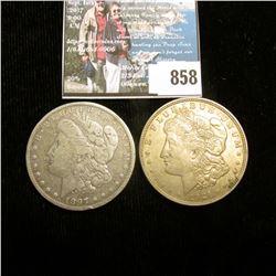 1897 O VG & 21 P EF U.S. Morgan Silver Dollars.
