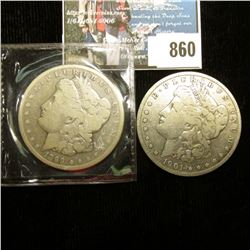 1899 S VG & 1901 O Fine U.S. Morgan Silver Dollars one with C.O.A. from the American Historical Soci
