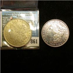 1887 P EF Polished & 1921 P AU U.S. Morgan Silver Dollars.