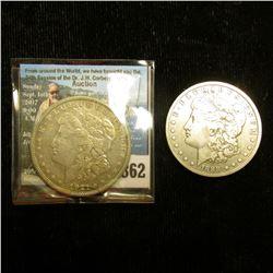 1888 O Fine & 21 S EF U.S. Morgan Silver Dollars.