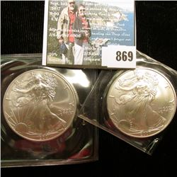 2001 & 2007 U.S. American Silver Dollar One Ounce .999 Fine Silver. Brilliant Uncirculated. One with