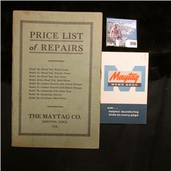 "1926 ""The Maytag Co. Newton, Iowa"" Memorabilia and booklet; & a 1945 United States World War II Seri"