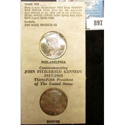 1964 P & D Silver Kennedy Half-Dollars in original Tidy House Products advertising holders. Brillian