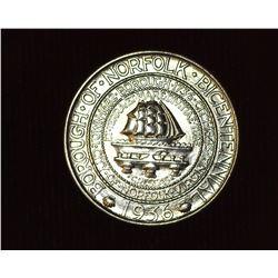 1936 P Norfolk, Virginia Bicentennial U.S. Commemorative Half Dollar, MS 67. Mintage 16,936 pieces.