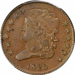 1825 1/2C. Classic Head Half Cent. PCGS Genuine.