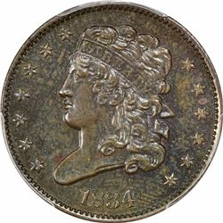 1834 1/2C. Classic Head Half Cent. PCGS Genuine.