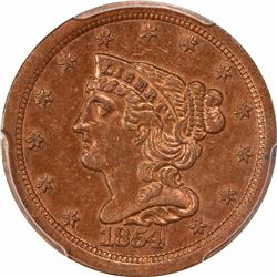 1854 1/2C. Classic Head Half Cent. PCGS Genuine.