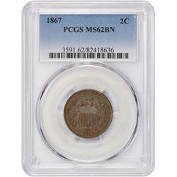 1867 2C. PCGS MS62 BN.