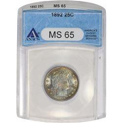 1892 25C. ANACS MS65.