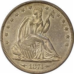 1874 50C. Seated Liberty Half Dollar. PCGS AU50.