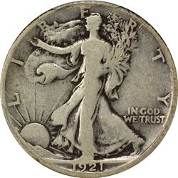 1921-D 50C. Standing Liberty Half Dollar. PCGS VG08.