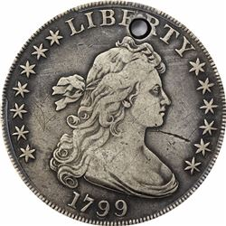 1799 $1. Flowing Hair Dollar. PCGS F Details.